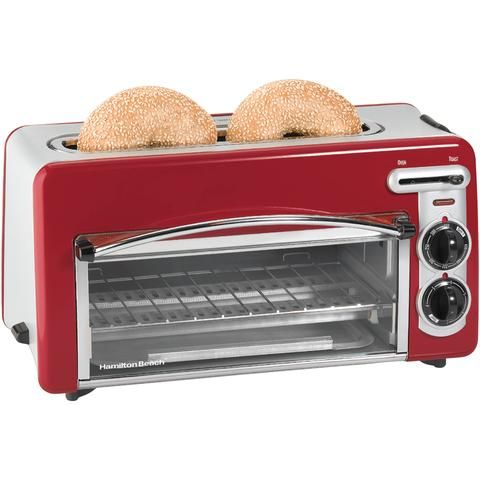 Red 2 Slice Convection Toaster Broiler Oven And Toaster
