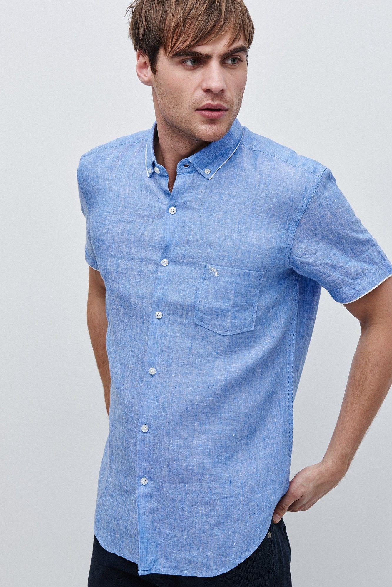 d1e9f6843e Camisa de lino de manga corta - camisas