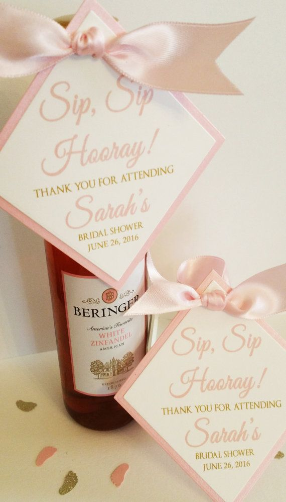 wine wedding shower gift poem%0A Sip Sip Hooray Mini Wine Bottle Tag Baby Shower Favor Tag Bridal Shower  Favor Tag Set of