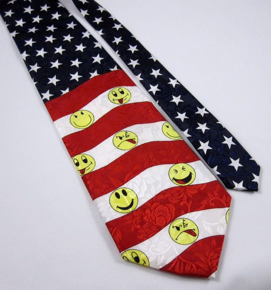 Stars Stripes Tie Red White Blue Yellow Emojis Smiley Face Patriotic Flag Red White Blue Patriotic Flag Red And White