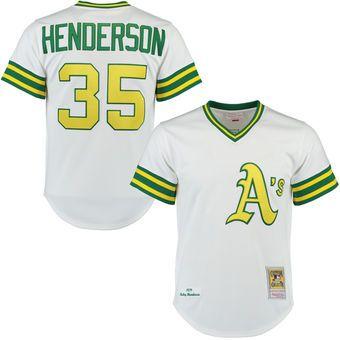 super popular 4ad4d fdec7 Mitchell & Ness Rickey Henderson Oakland Athletics White ...
