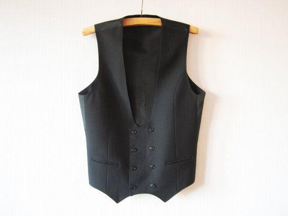 Black Men Vest Double Breasted Fitted Men Waistcoat Formal Classic Formal Gentlemen/'s Vest Steampunk Edwardian Victorian Gift for Him Large