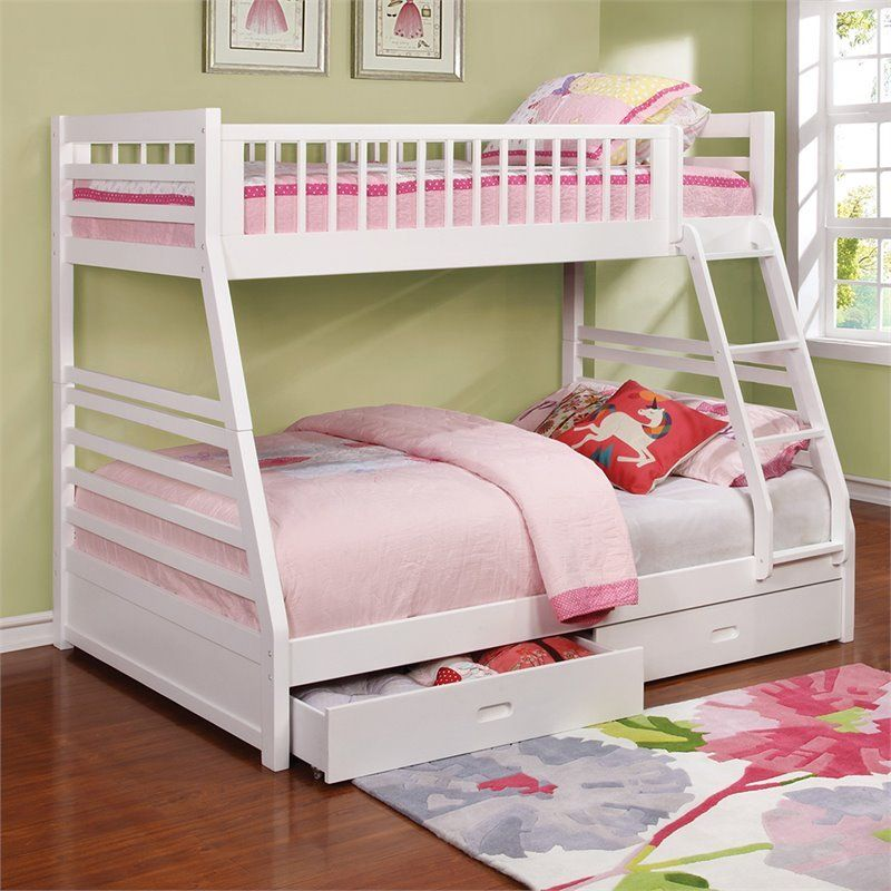Coaster Ashton Twin Over Full Bunk Bed In White White Bunk Beds Bunk Beds With Storage Twin Full Bunk Bed White twin over full bunk bed