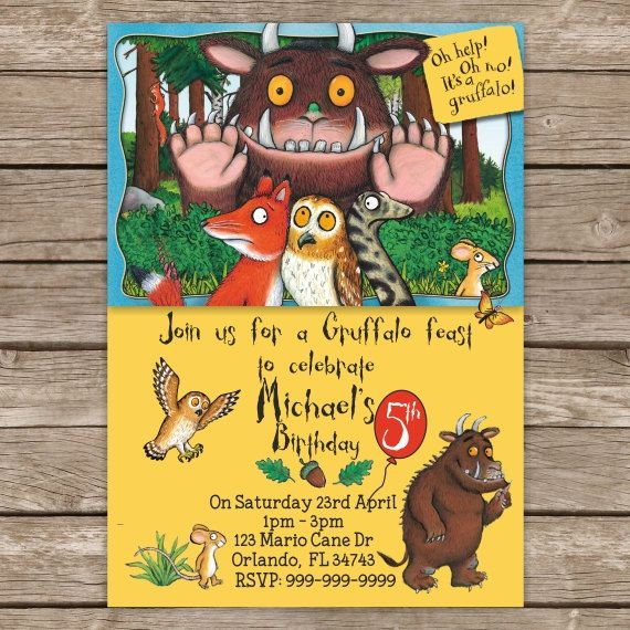 The Gruffalo Invitation Gruffalo Birthday Invite Gruffalo Party Printable Invitation Gruffalo Gruffalo Party Party Invitations Kids Kids Invitations