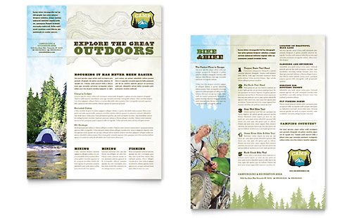 Nature Camping U0026 Hiking   Sales Sheet Template Design Sample