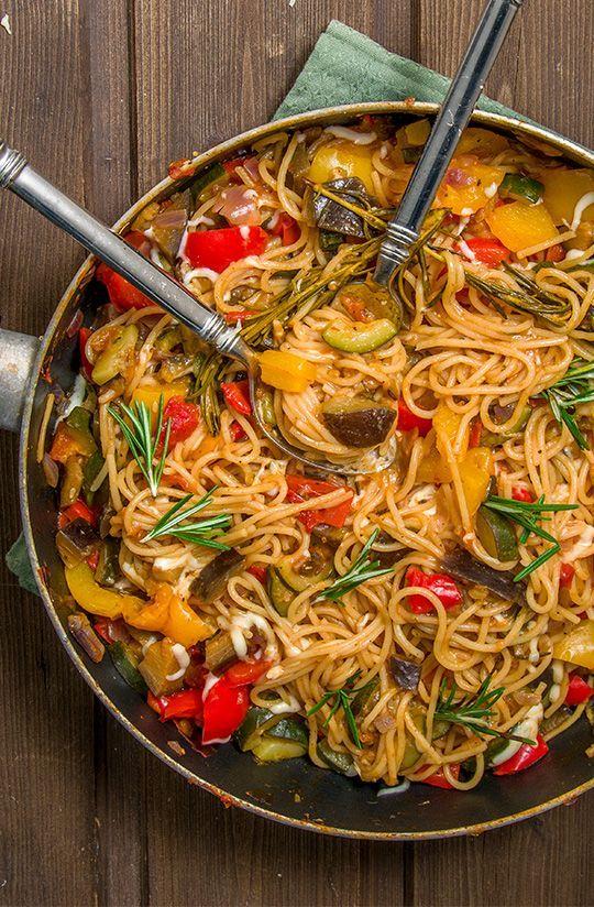 Ratatouille-Pasta #veganerezeptemittag