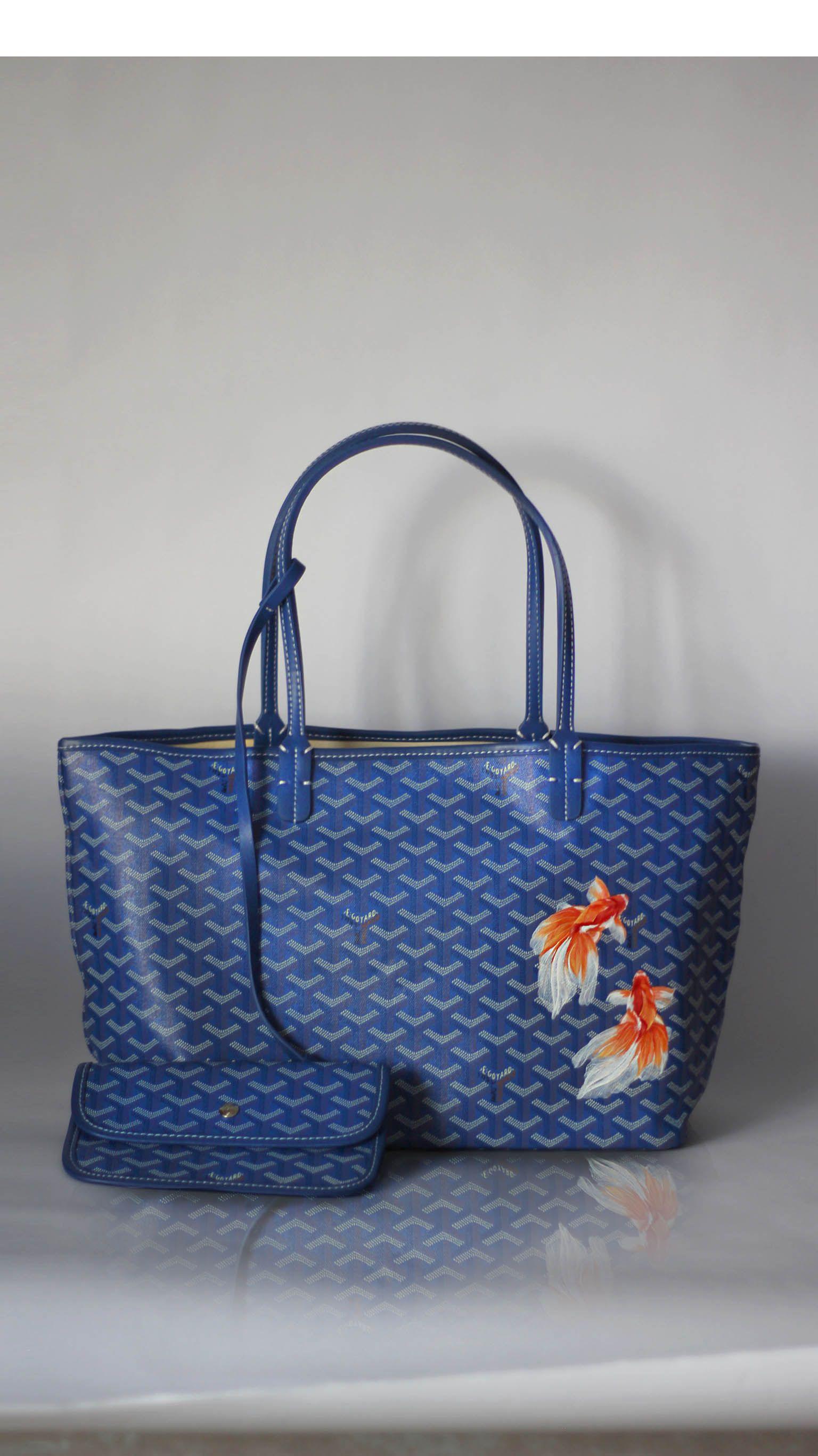 Handprinted Blue Fish Tote Bag