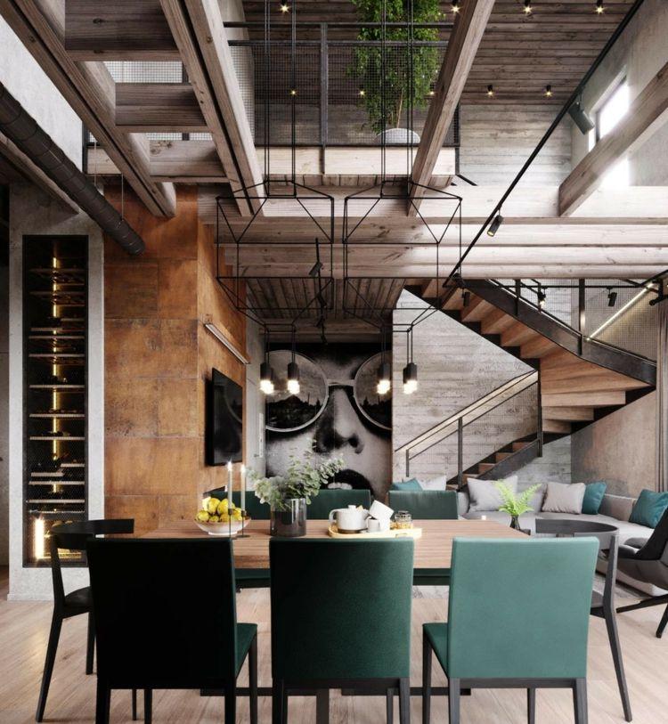 Entzuckend Industrial Stil Braun Petrol Grau Essbereich #innendesign #interior #design
