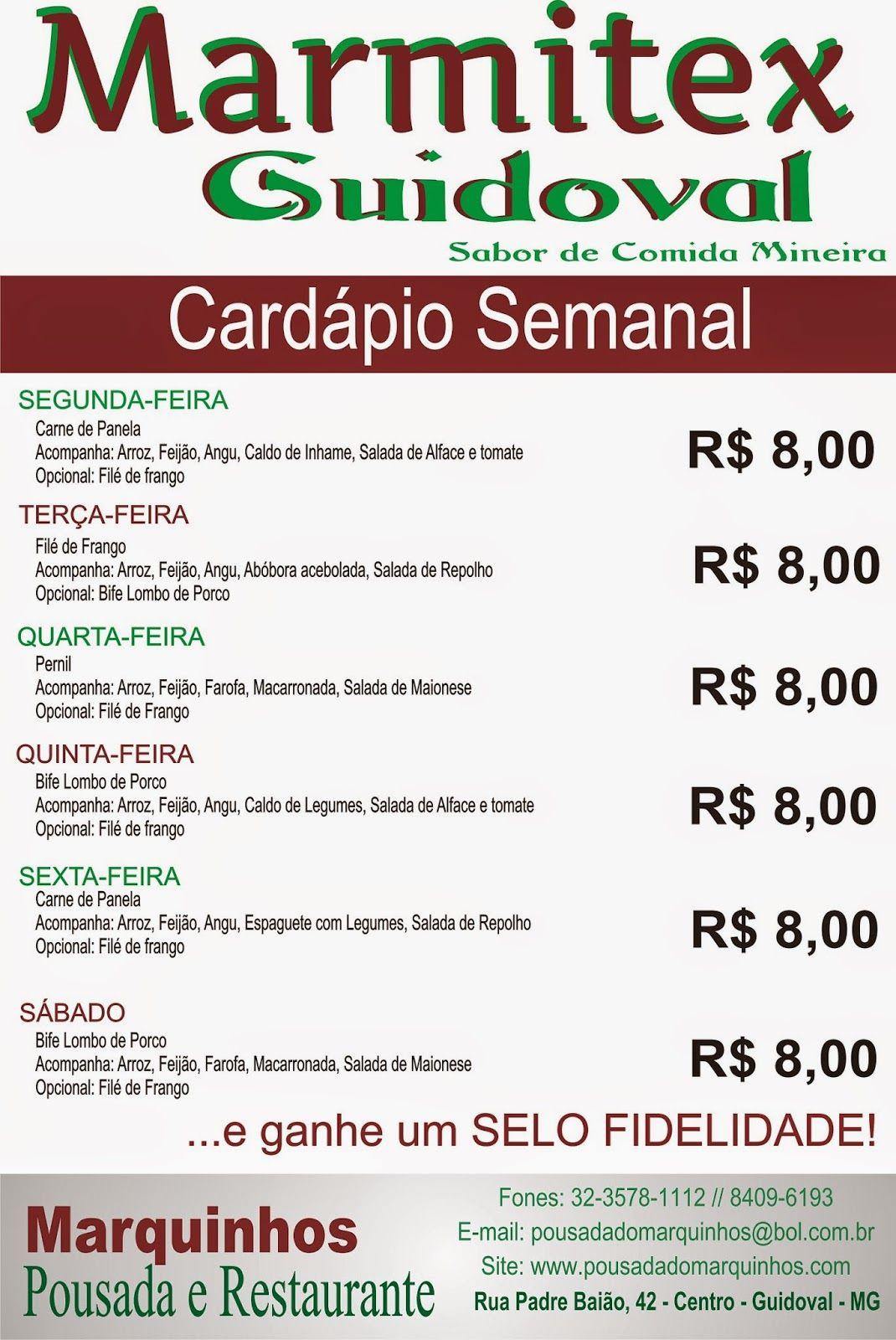 Nombre De Armario Judio ~ Restaurante e Pousada do Marquinhos em Guidoval MG CARDÁPIO SEMANAL DE MARMITEX GUIDOVAL