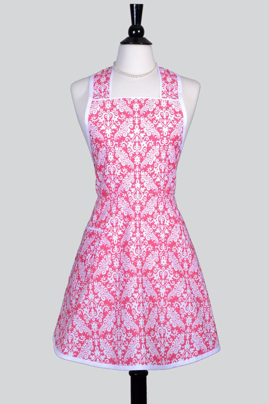 retro housewife apron elegant raspberry pink and white damask rh pinterest com