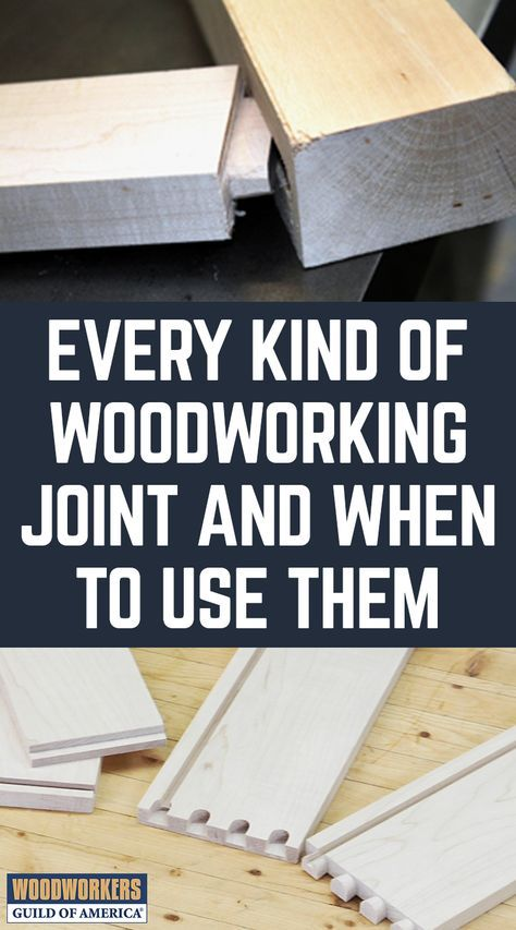 There are so many different kinds of woodworking joints, it's hard to know what to use. Learn which type of joinery is going to be best for your project in this article of 11 different kinds of woodworking joints. Joints discussed are: tongue and groove, rabbet, pocket-hole joinery, mortise and tenon, lap wood joint, finger joint, dovetails, dado, bridle joint, biscuit joint, and butt joints.