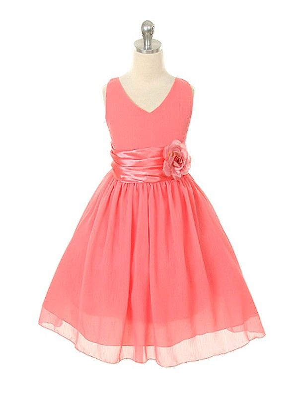 Coral Yoru Chiffon Flower Girl Dress size 2 4 6 8 10 12 14 - 1082 ...