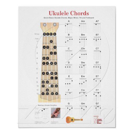 Ukulele Chords Finger Charts, Fretboard with Notes Poster | Zazzle ...
