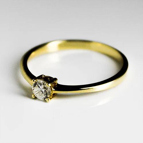 خاتم سوليتير ألماس 0 20 قيراط على ذهب أصفر عيار 18 Ring Designs Wedding Rings Engagement