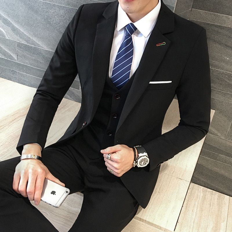 5e40ac0a299 3 Pieces Black Suit Latest Coat Pant Designs Suit Men New Arrival Slim Fit  Wedding Dress One Button Plus Size Men Suit 5XL-M Hot