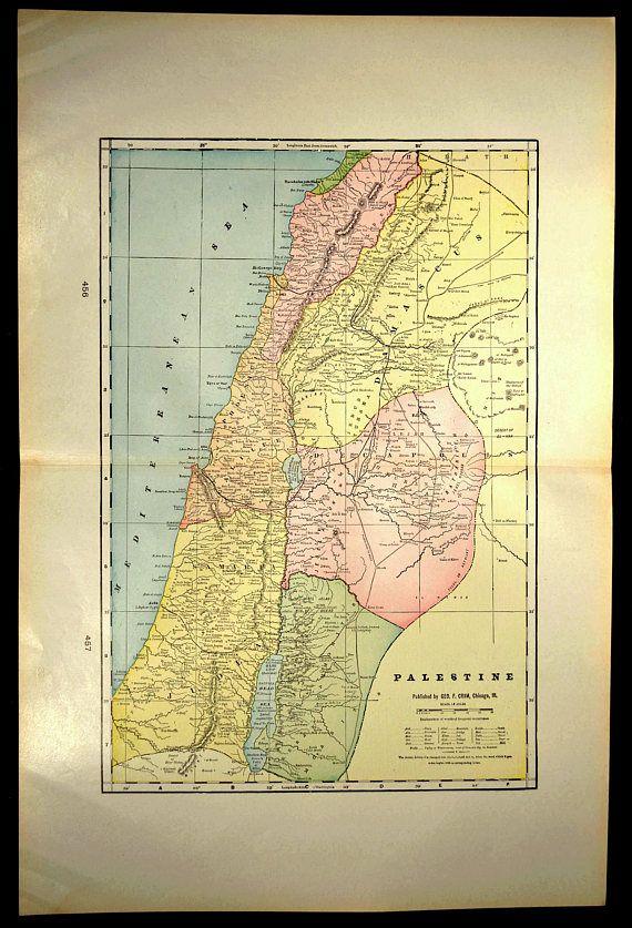 Holy Land Map LARGE Map of Palestine Israel Jerusalem | Map Wall ...