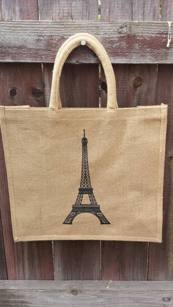 Download Natural Jute Tote Bag With Eiffel Tower Etsy In 2021 Jute Tote Bags Jute Bags Jute Totes