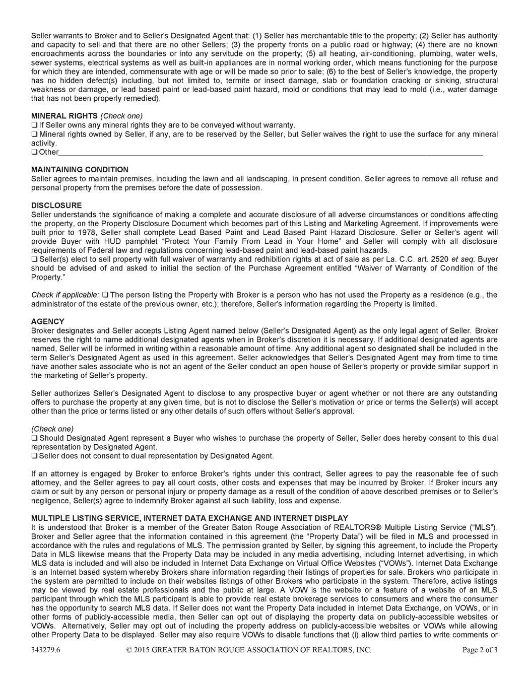 Listing And Marketing Agreement  Property    Marketing