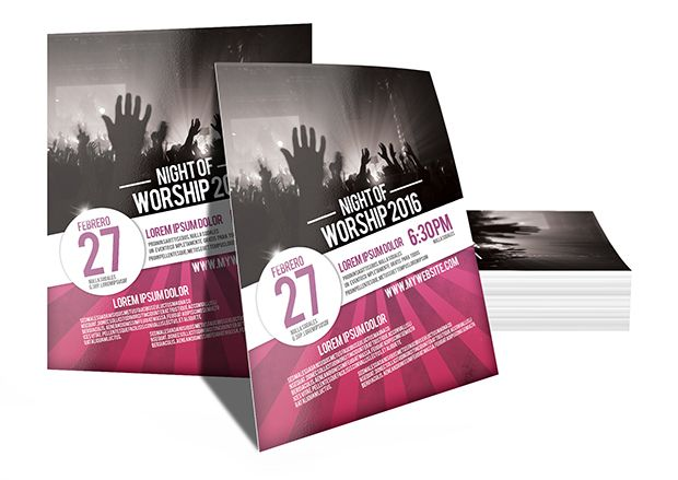 Flyer PSD template - Night of Worship - christian flyer templates