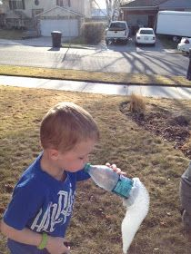 Trail of bubbles: 1) Cut bottom of water bottle 2) secure a terry cloth to bottom of bottle with a rubber band 3) dip bottle with terry cloth in bubble solution 4) blow into bottle top &  BUBBLES, lots & lots of bubbles!