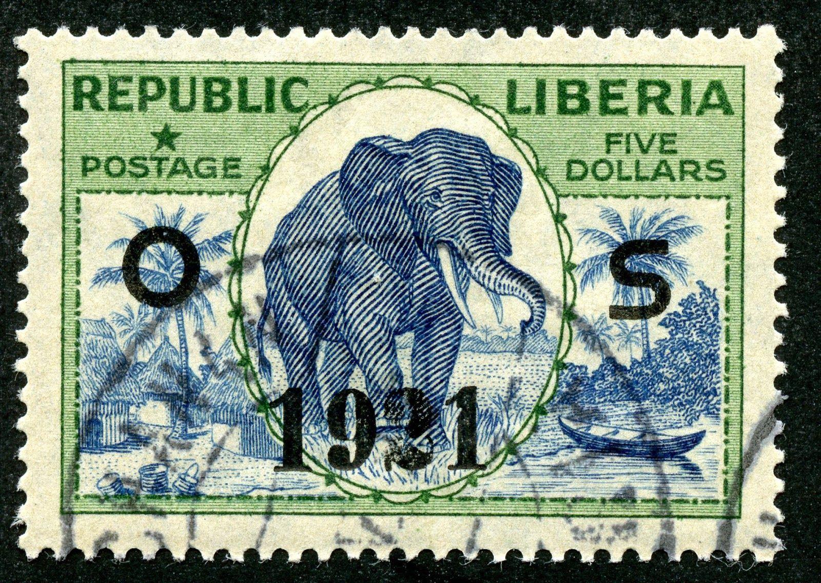 """1921 Official Scott O140 $5 green & blue, OP """"1921"""" """"Elephant"""""""