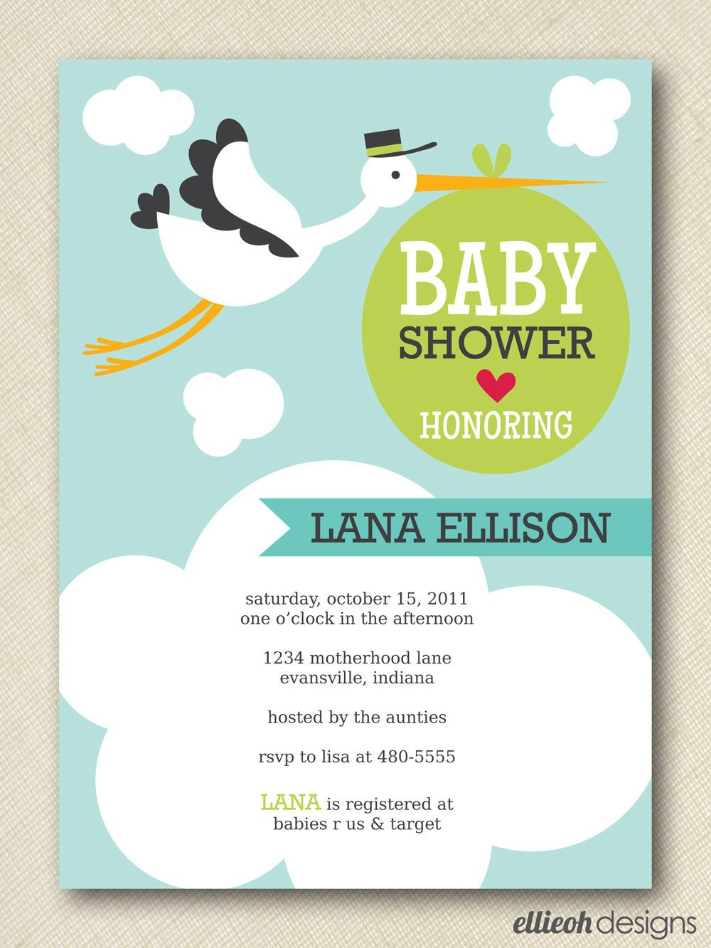Stork Baby Shower | Stork Baby Shower Invite PRINTABLE 5x7 Digital By  Ellieohdesigns