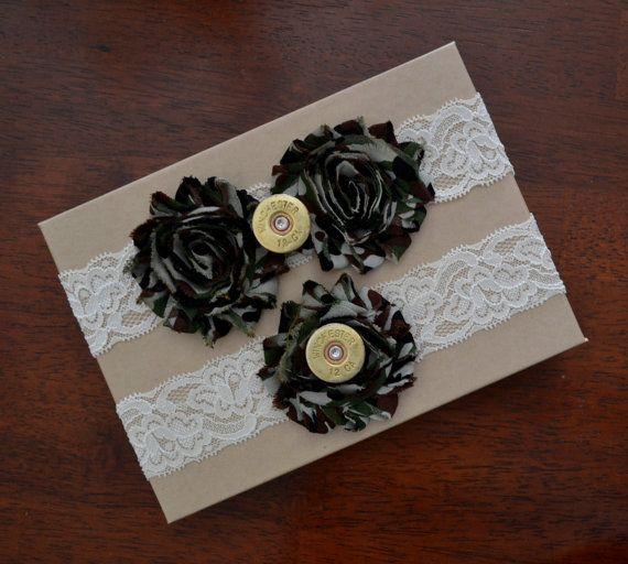 Wedding Garter, Wedding Garter Set, Camouflage Bridal Garter Belt, 12 Gauge Shell Heads, Rustic Style Garter Set