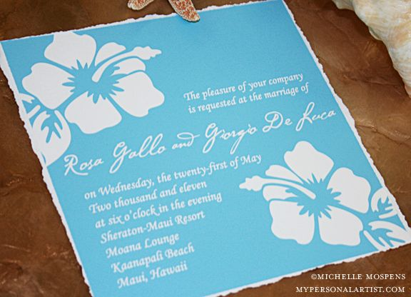 Tropical Hawaiian Hibiscus Invitations Beach Wedding My Personal Artist