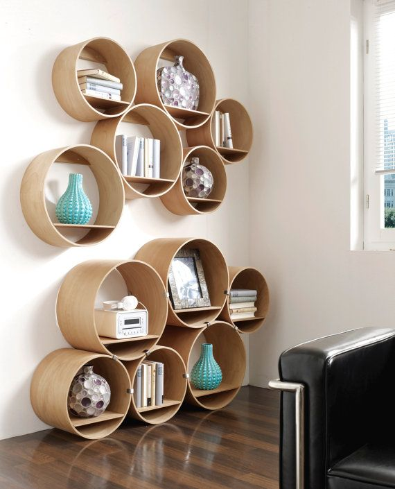 6 Round Wall Shelves Wood Oiled Incl Wall Holder And Shelf Boards Shelving System Flexi Tube Nature Idees Etageres Parement Mural Et Decoration Interieure