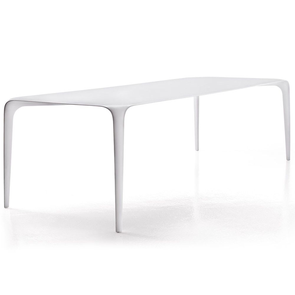 Furniture, : Modern Slim And Sleek White B&B Italia Dining Table With Think And Tapered Legs Design