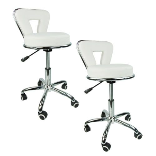 2 White Leather Salon Stool w Back Clinic Doctor Dentist Spa Equipment Chair | eBay  sc 1 st  Pinterest & 2 White Leather Salon Stool w Back Clinic Doctor Dentist Spa ...