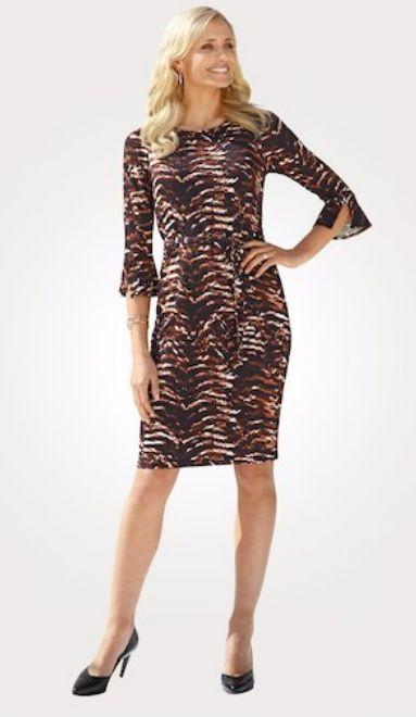 Mona Jerseykleid mit Volantärmel | Kleid arbeit, Modestil ...