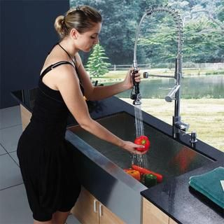 @Overstock.com - This Vigo sink offers top quality and a unique design. The faucet features a dual pull-out spray head for aerated flow or powerful spray. Vigo finishes resist corrosion and tarnishing, exceeding industry durability standards.http://www.overstock.com/Home-Garden/Vigo-Farmhouse-Stainless-Steel-Kitchen-Sink-Faucet-and-Dispenser/4791052/product.html?CID=214117 $510.29