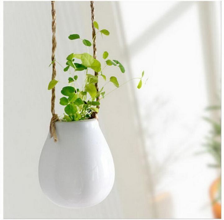 Home Garden Ceramic Hanging Planter Flower Pot Pots Green Plant Vase W Twine