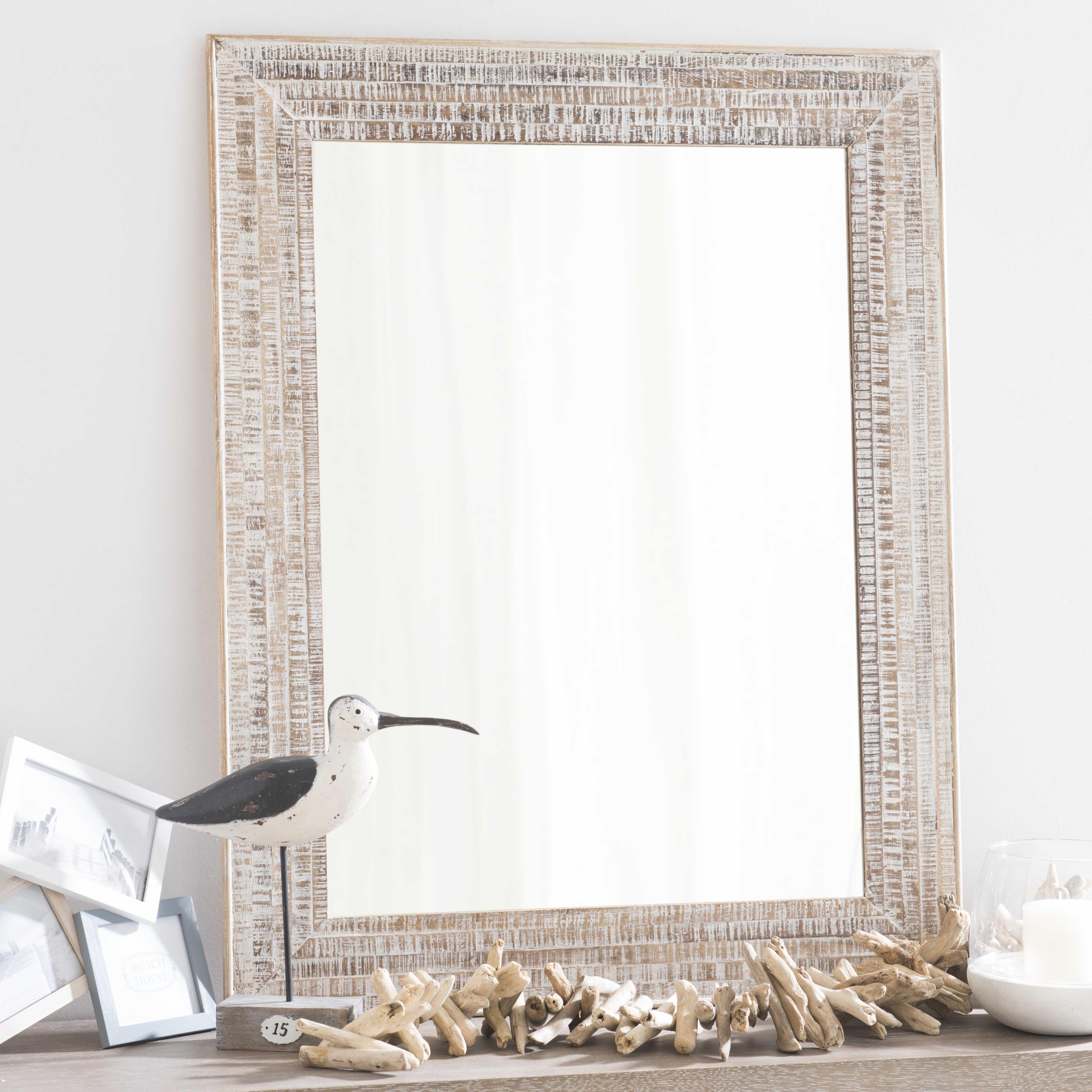 Spiegel met mangohouten lijst, hoogte 90 cm, OREGON