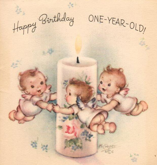 One Year Angels Vintage Birthday Cards Vintage Greeting Cards Happy Birthday Vintage