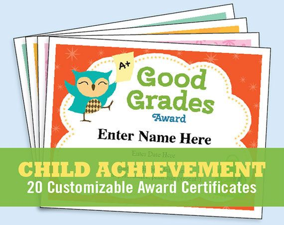 Child Certificates - Achievement Pack 20 kids certificates to - free customizable printable certificates of achievement