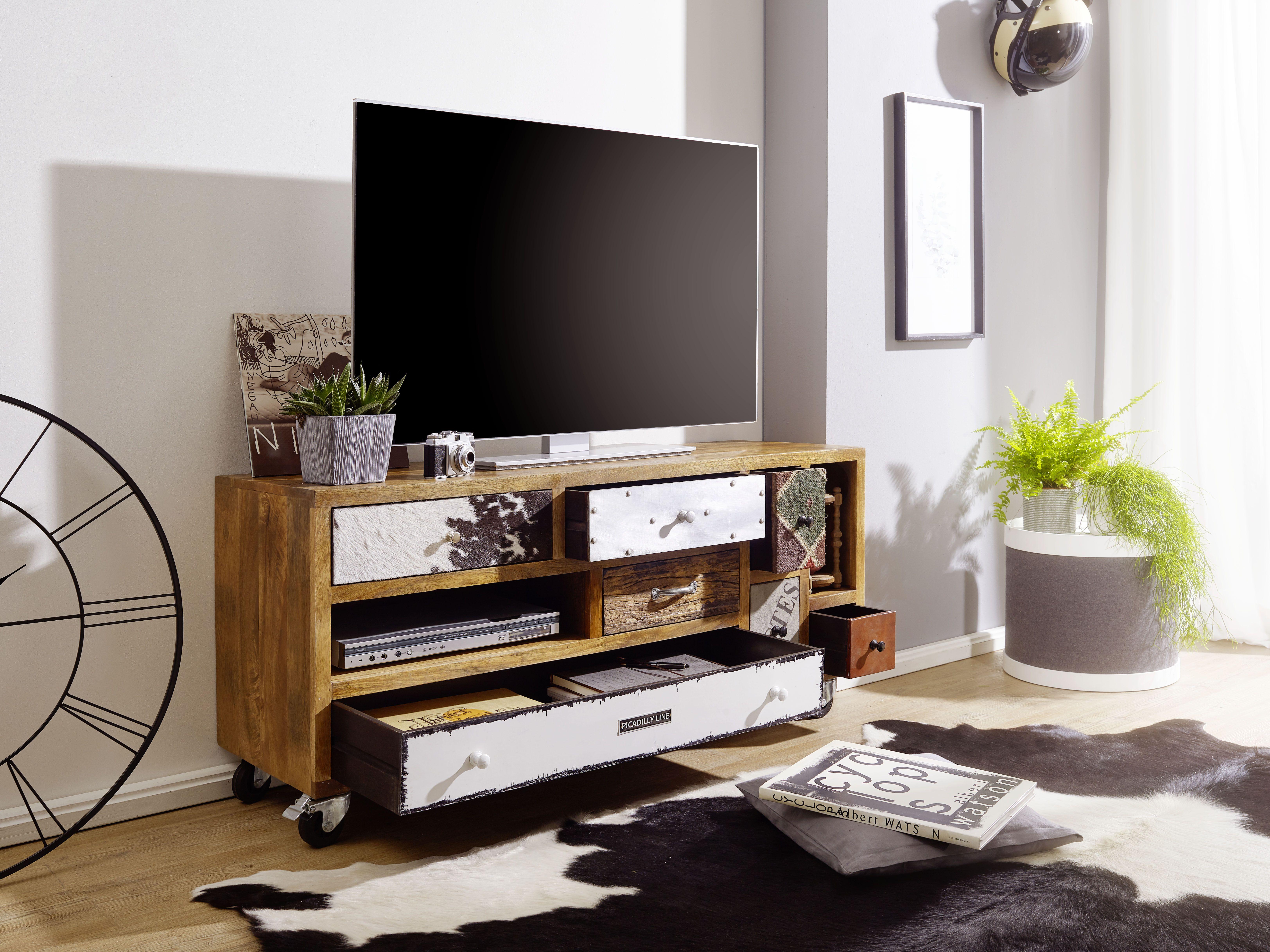 Wohnling Tv Board Nepal Wl5 377 Aus Massivholz Und Eisen Wohnzimmer