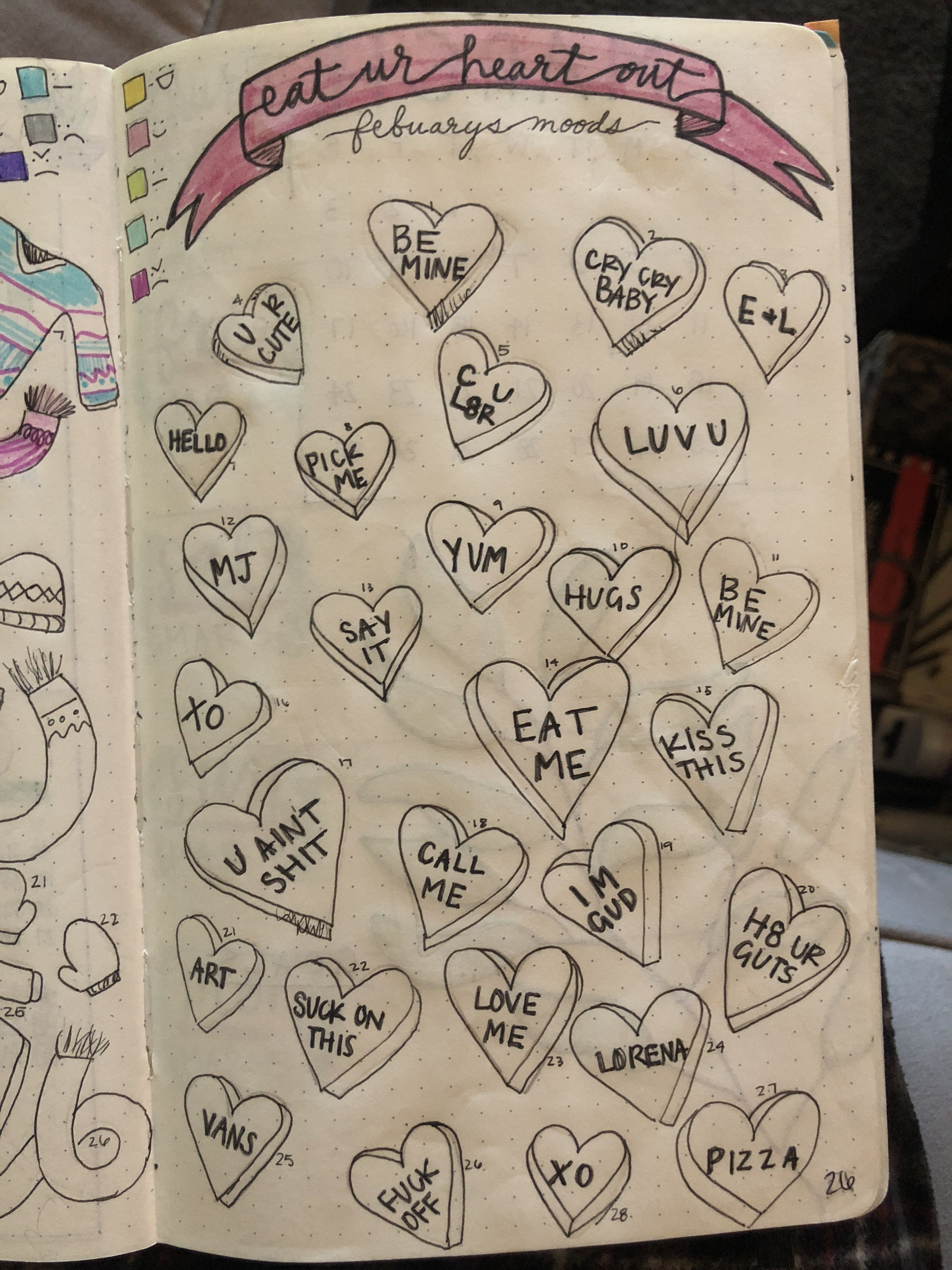 February mood tracker, inappropriate candy hearts for the ...