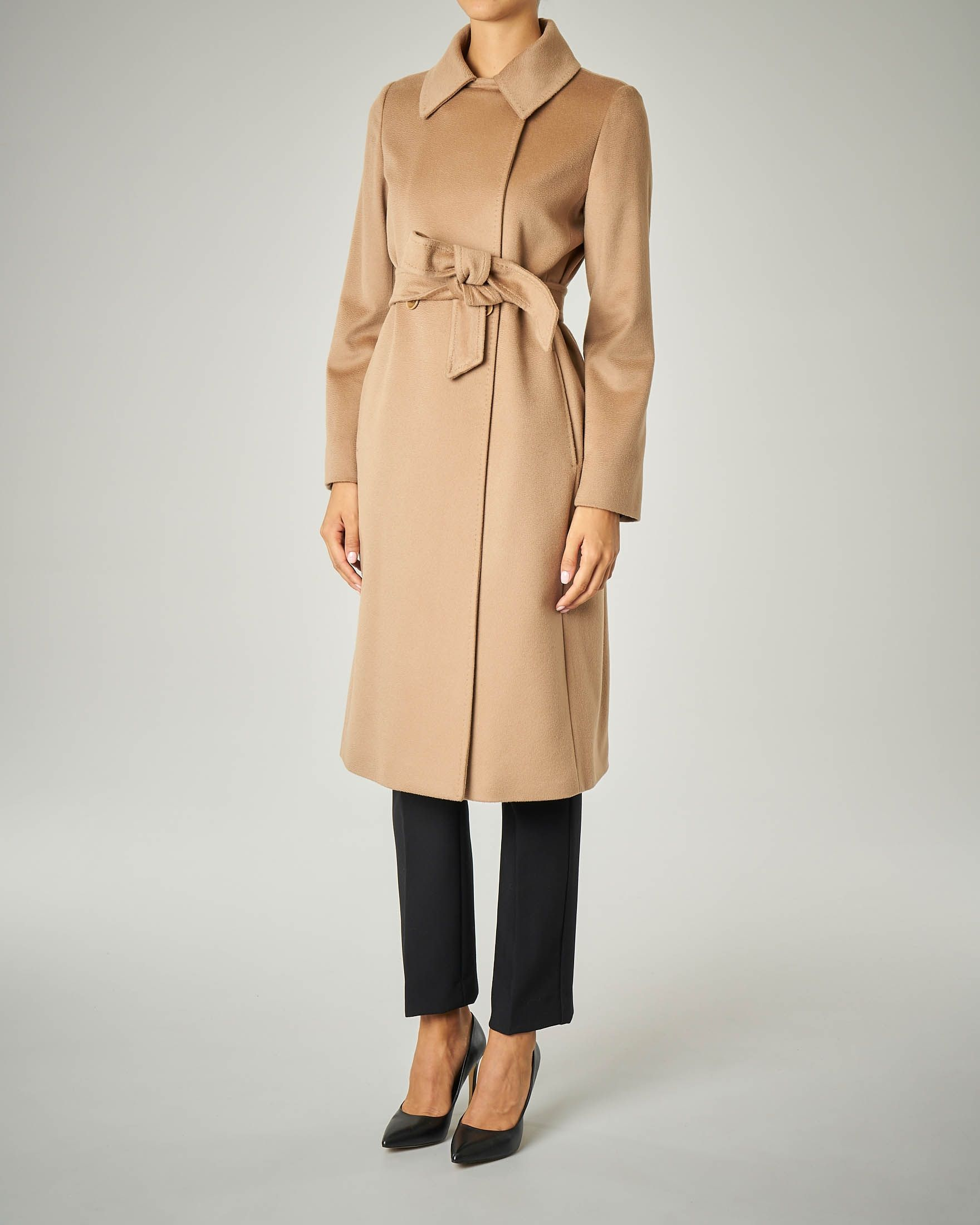 Cappotto cammello in pura lana con cintura | Cappotti