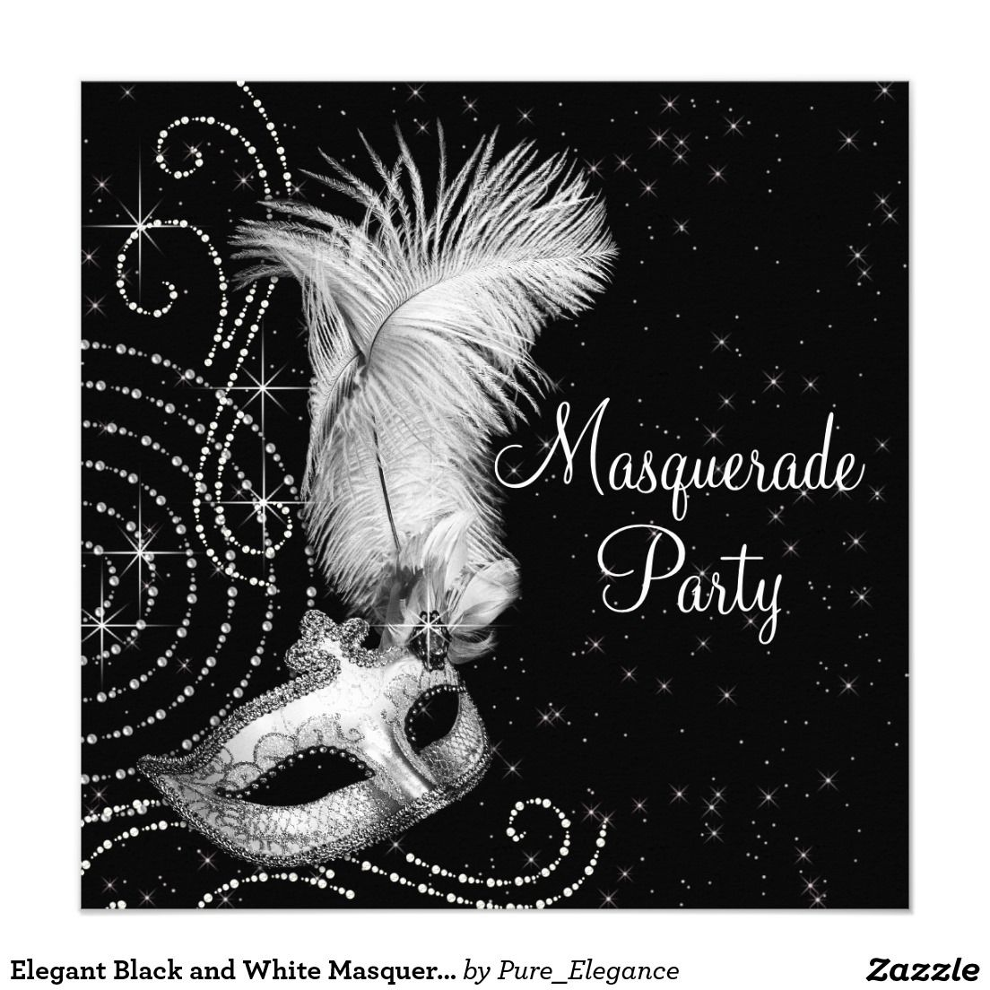 Elegant Black and White Masquerade Party 5.25x5.25 Square Paper ...
