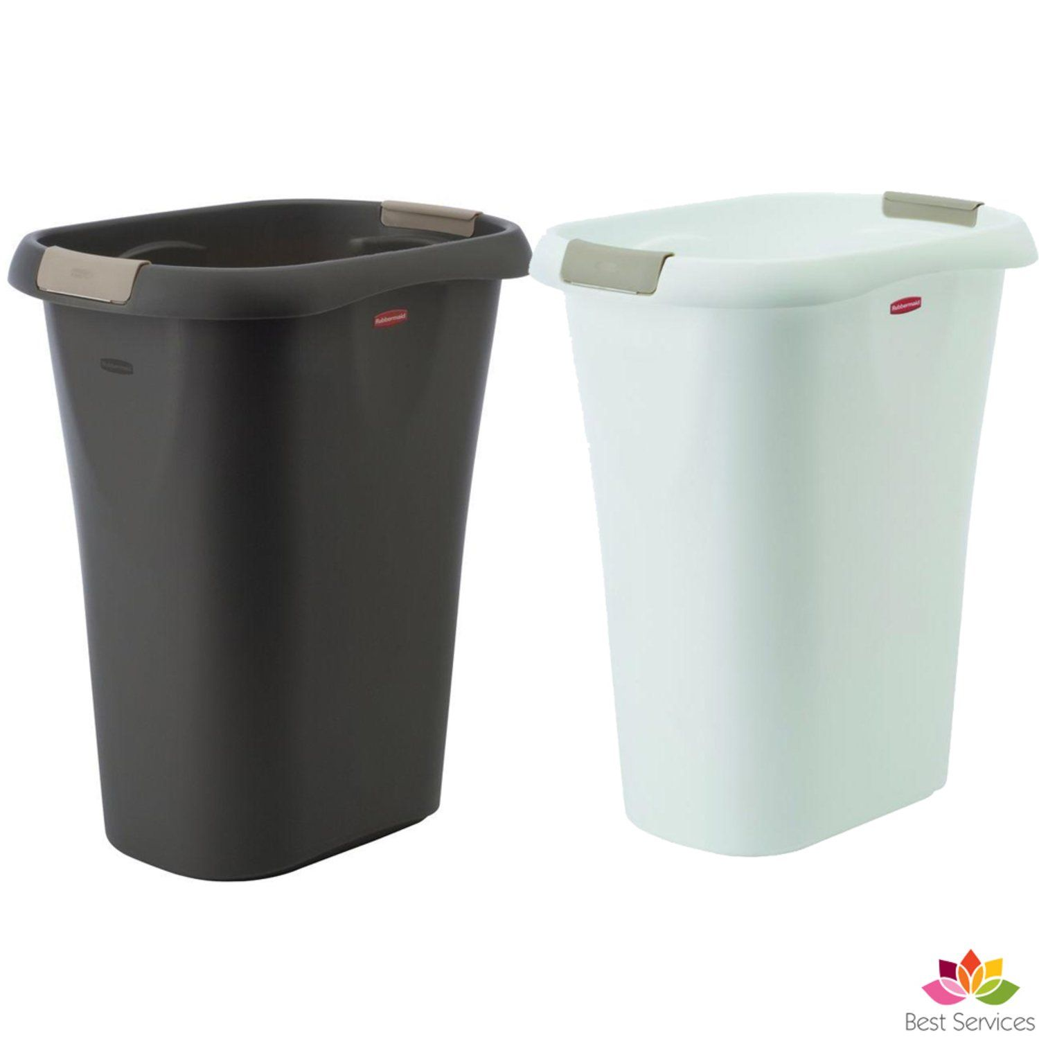 Details About Step On Plastic Trash Can 13 Gal Rubbermaid Kitchen