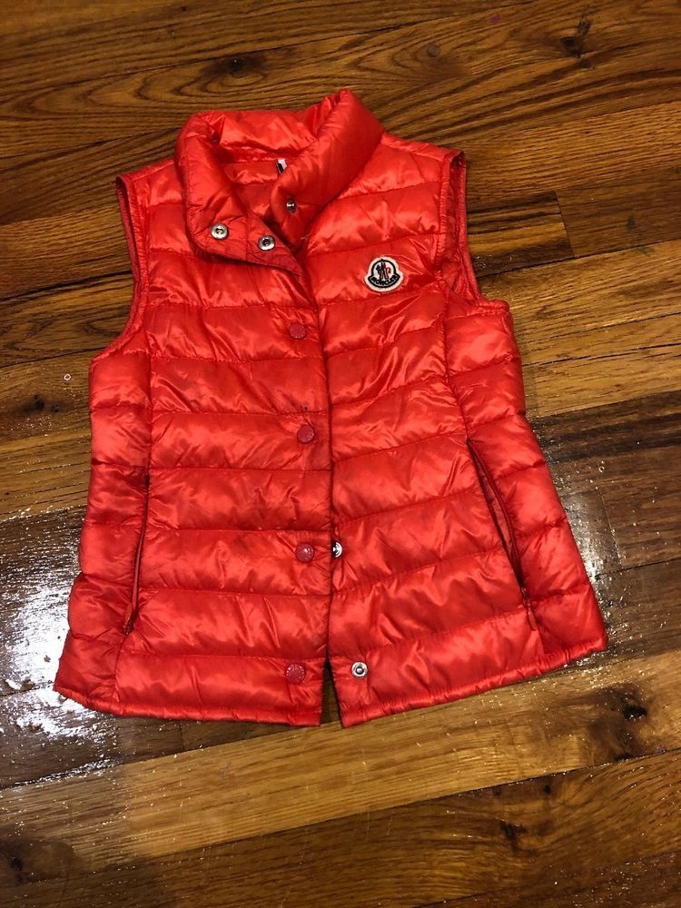 2fbcf956fbbc MONCLER Pink Orange Light Puffer Vest Girls Sz 5 5T  fashion ...