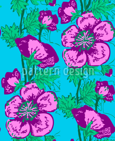 Mohnsuchtig By Laura F Nicholson Patterndesigns Com Stoffe Stoffmuster Und Mohnblume