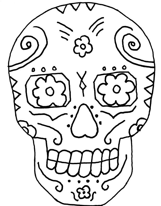 Skull And Day Of The Dead Coloring Pages Color Dia de los
