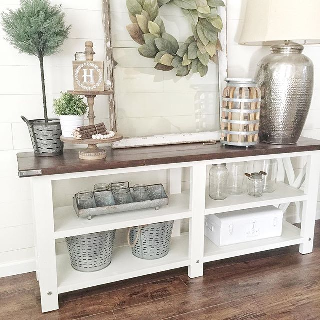 Farmhouse Decor Console With Metals And Greenery