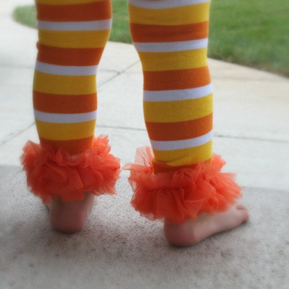 Yellow and White Striped Leg Warmers Kids//Baby//Toddler//Infants Halloween Candy Corn Orange