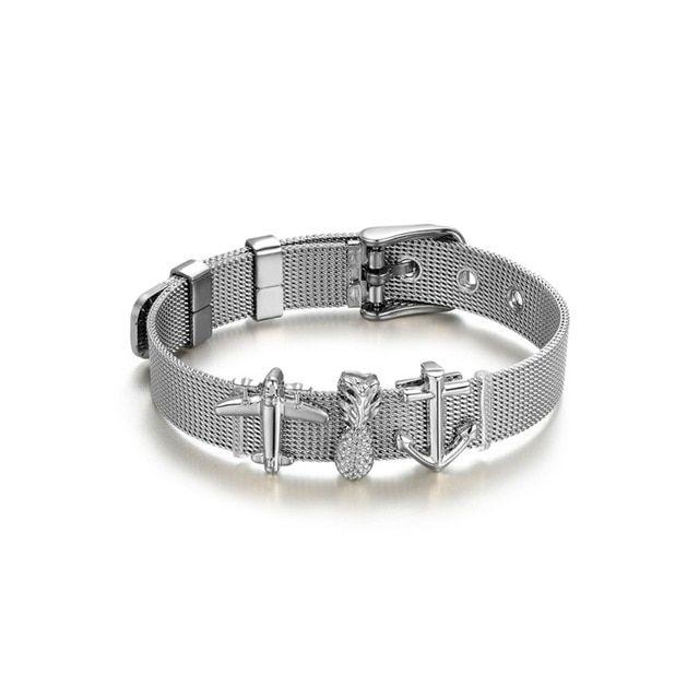 10bc4f101392e Transmit love Silver colour Stainless Steel Woman Men Bracelet Mesh ...