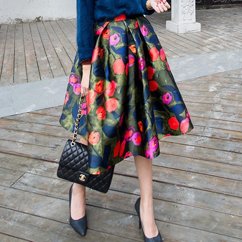 Fashion 2015 Satin Women Skirts Winter Spring Female Vintage ...