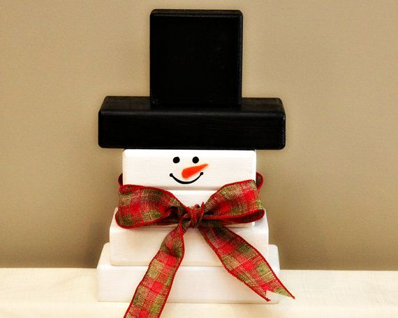 Wooden Snowman - Winter Decoration - Hand Painted Snowman - Holidays Home Decor - Christmas Decor - Snowman Stacking Blocks
